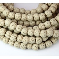 Lava Rock Smooth Beads, Beige, 8mm Round
