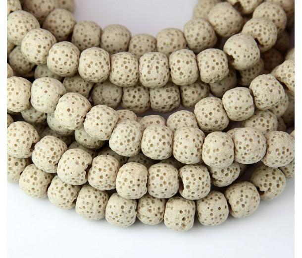 Lava Rock Smooth Beads, Beige, 10mm Round