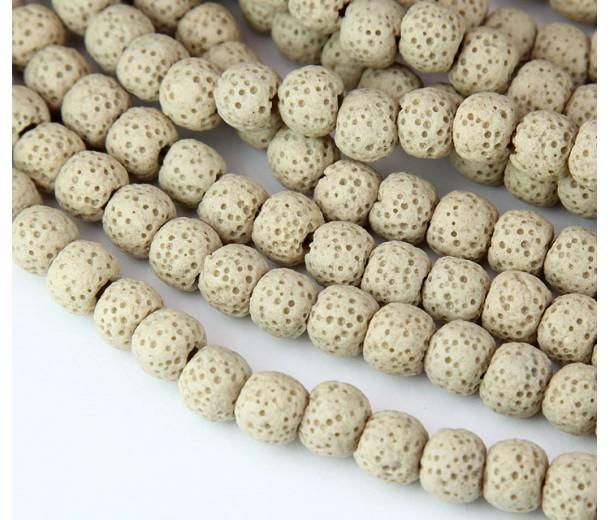 Lava Rock Smooth Beads, Beige, 8mm Round