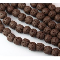 Lava Rock Smooth Beads, Brown, 8mm Round
