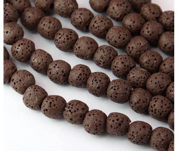 Lava Rock Smooth Beads, Brown, 10mm Round