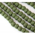 Lava Rock Smooth Beads, Olive Green, 8mm Round