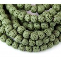 Lava Rock Smooth Beads, Olive Green, 10mm Round