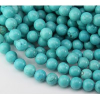 Magnesite Beads, Teal Blue, 8mm Round