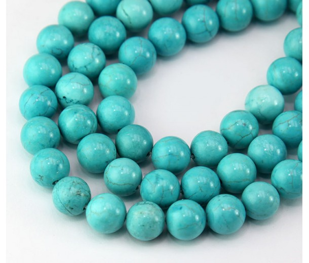 Magnesite Beads, Teal Blue, 10mm Round
