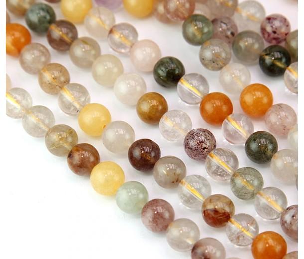 Mixed Quartz Beads, 8mm Round