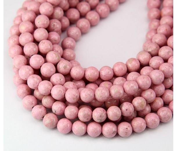 River Stone Jasper Beads, Pastel Pink, 6mm Round