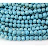 River Stone Jasper Beads, Light Blue, 6mm Round