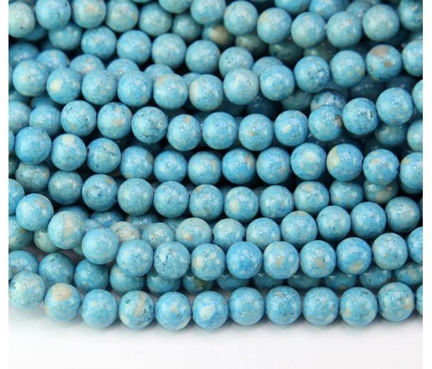 River Stone Jasper Beads, Light Blue, 6mm Round
