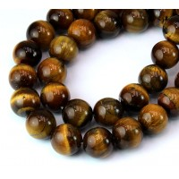 Tiger Eye Beads, Natural, 12mm Round