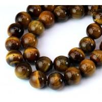 Tiger Eye Beads, Natural, 12mm Round
