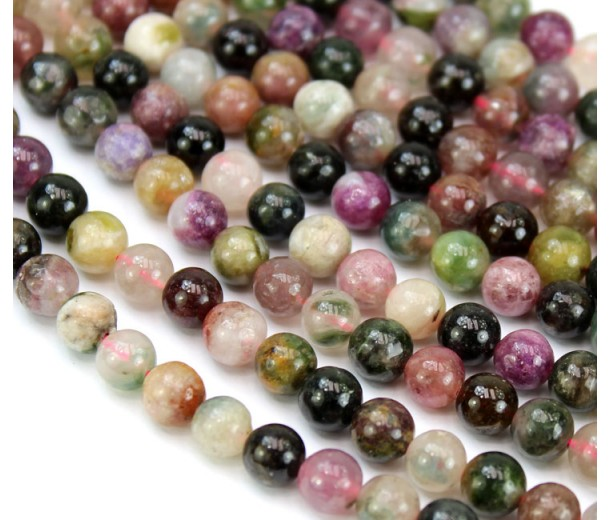 Tourmaline Beads, Multicolor, 6mm Round