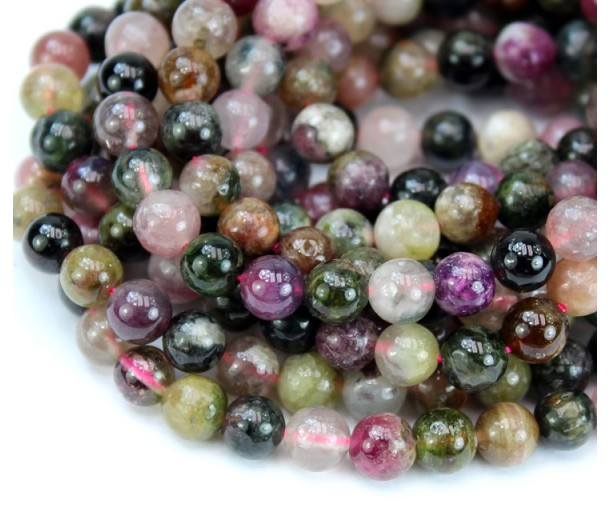 Tourmaline Beads, Multicolor, C Grade, 6mm Round