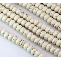 Magnesite Beads, Cream, 8x5mm Faceted Rondelle