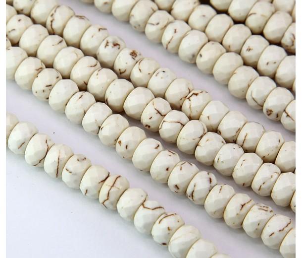 Magnesite Beads, Cream, 8x5mm Faceted Rondelle