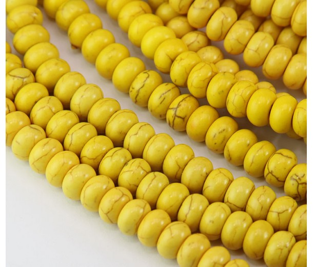 Magnesite Beads, Yellow, 8x5mm Smooth Rondelle
