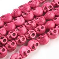Howlite Beads, Pink, 9mm Skull