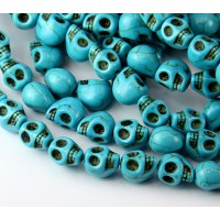 Howlite Beads, Blue, 9mm Skull