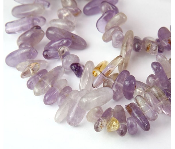 Ametrine Stick Beads, Natural Light Purple, 12-20mm