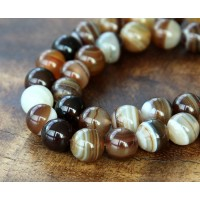 Striped Agate Beads, Brown, 10mm Round
