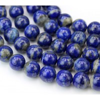 Lapis Lazuli Beads with Veins and Inclusions, 8mm Round