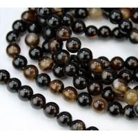 Striped Agate Beads, Dark Brown, 6mm Round