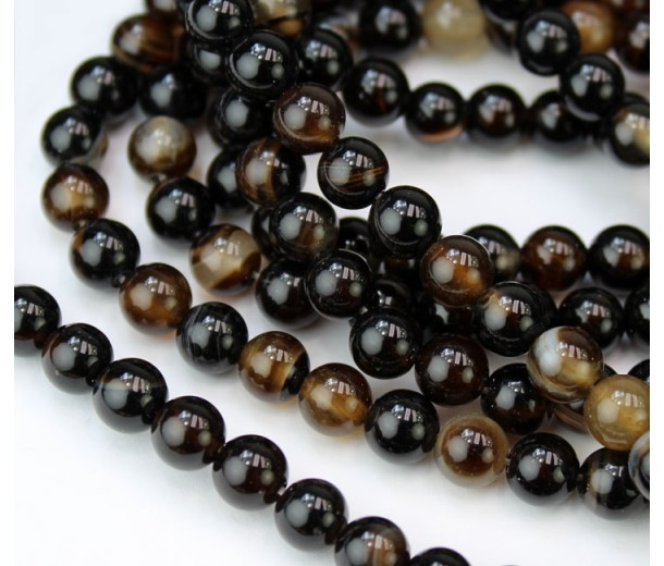 Striped Agate Beads, Dark Brown, 6mm Round