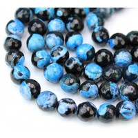 Agate Beads, Blue and Black, 10mm Faceted Round