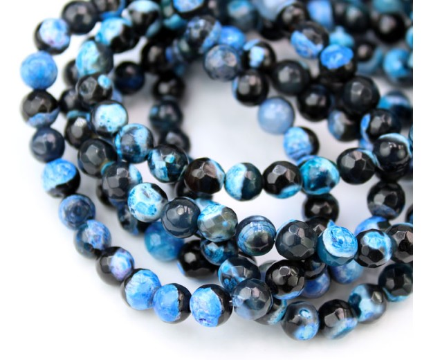 Agate Beads, Blue and Black, 6mm Faceted Round