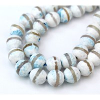 Fire Crackle Agate Beads, Blue Mist with Stripe, 10mm Faceted Round
