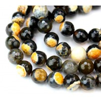 Agate Beads, Black and Orange, 8mm Faceted Round