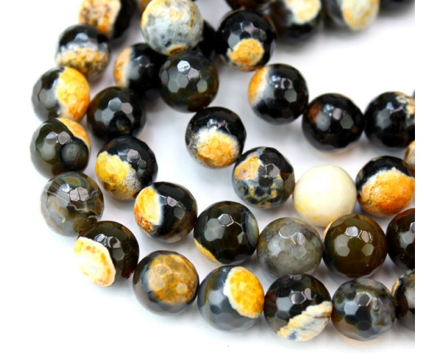 Agate Beads, Black and Orange, 10mm Faceted Round