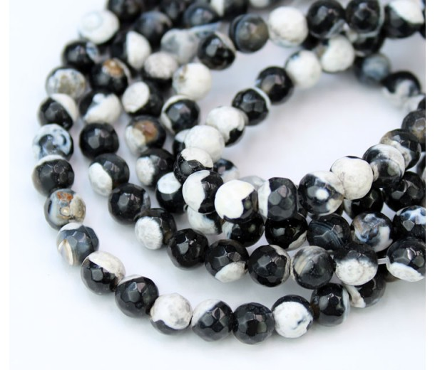 Agate Beads, Black and White, 6mm Faceted Round