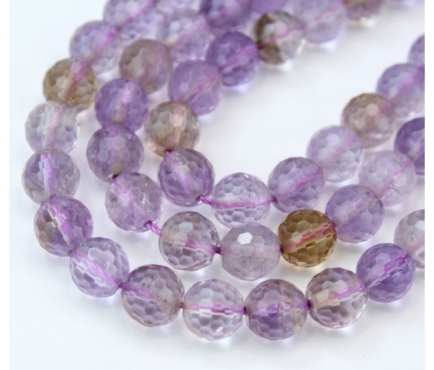 Ametrine Beads, Light Purple, 8mm Faceted Round