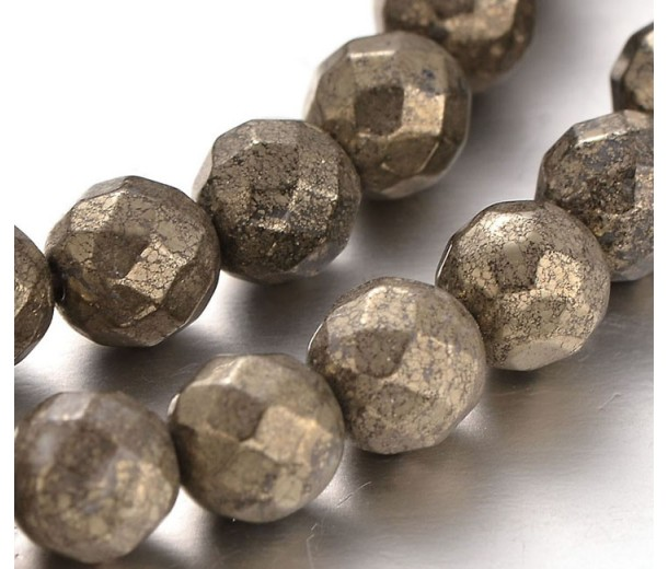 Pyrite Beads, 5-6mm Faceted Round