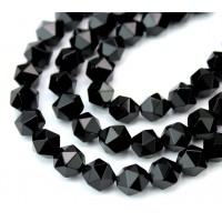 Black Agate Beads, 7-8mm Faceted Nugget