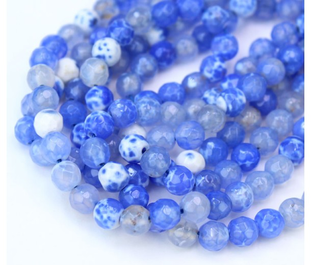 Agate Beads, Blue and White, 6mm Faceted Round