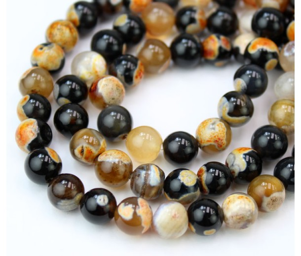 Fire Crackle Agate Beads, Black and Orange, 8mm Round