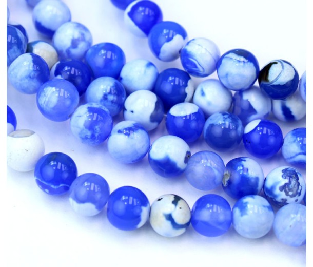 Fire Crackle Agate Beads, Sky Blue and White, 8mm Round