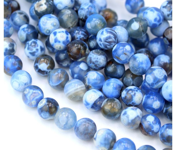 Fire Crackle Agate Beads, Blue and Grey, 8mm Round