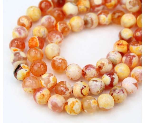 Fire Crackle Agate Beads, Citrus Orange, 8mm Round