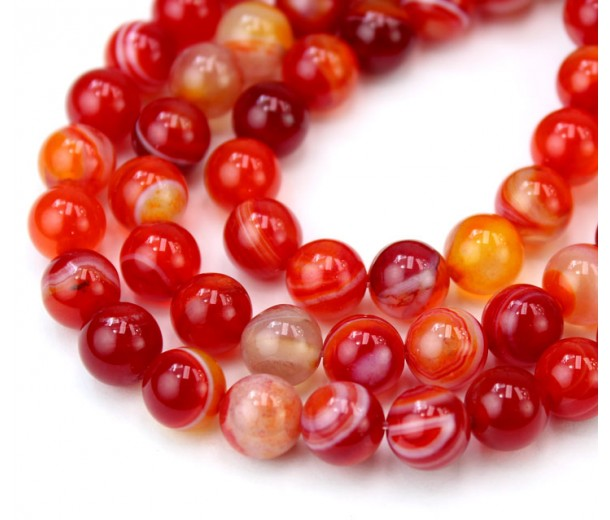Striped Agate Beads, Red Orange, 8mm Round
