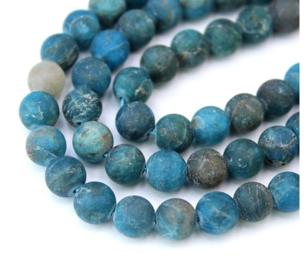 Matte Apatite Beads, Natural, Dark Teal Blue, 8mm Round