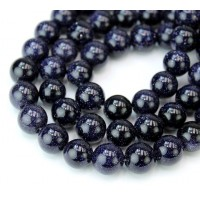 Goldstone Beads, Blue, 10mm Round