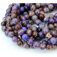 Impression Jasper Beads, Purple, 8mm Round