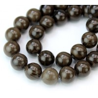Coffee Jasper Beads, Natural Dark Brown, 10mm Round