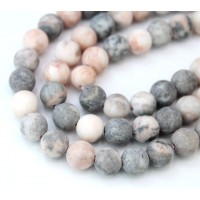 Matte Pink Zebra Jasper Beads, Natural, 8mm Round