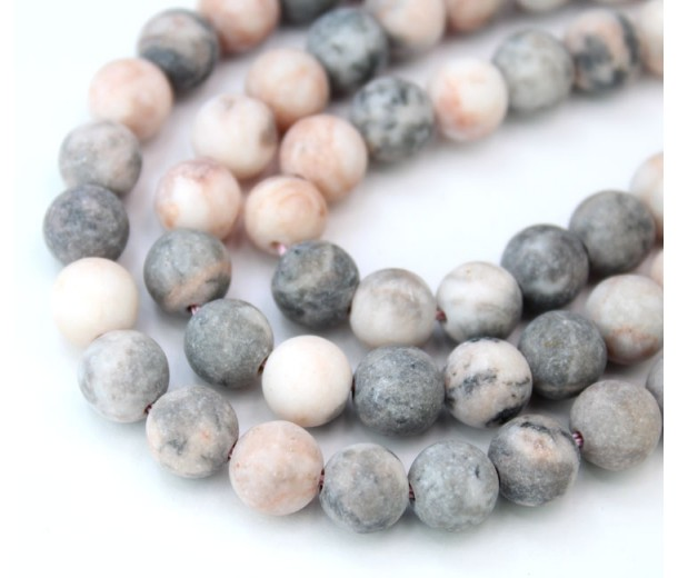 Matte Pink Zebra Jasper Beads, Natural, 10mm Round