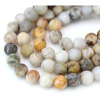 Matte Bamboo Leaf Jasper Beads, 8mm Round