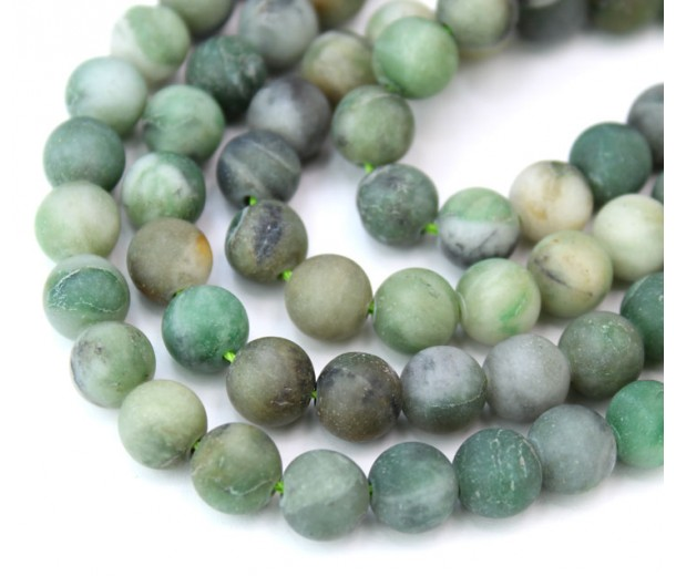 Matte African Jade Beads, Natural, Medium Green, 8mm Round